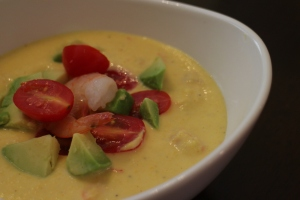 Chilled corn and shrimp soup