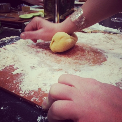 The dough is needed by hand until it is just right