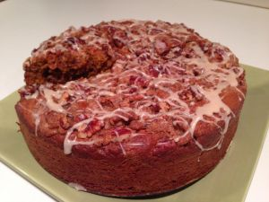 Apple cake with honey glaze