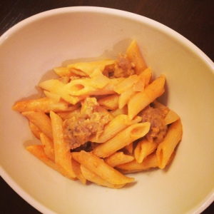 Pumpkin pasta with sausage