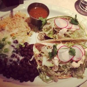 Mahi Mahi tacos with rice and beans