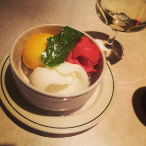 Trio of sorbets: Raspberry, lemon, and mango