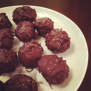 Salted dark chocolate coconut balls