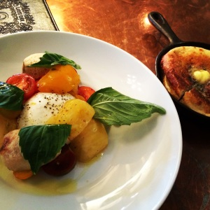 Heirloom tomato salad with burrato and warm skillet bread