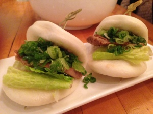 Pork belly buns with scallions and wasabi mayo
