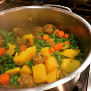 Our tagine! Kofta with potatoes, carrots, onions, and peas