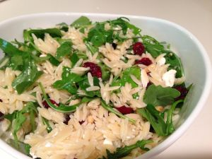 Arugula, feta, and cranberry orzo