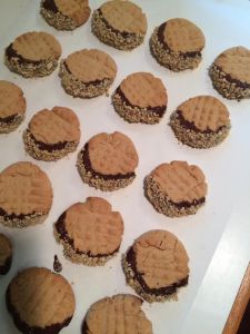 Chocolate-dipped peanut butter cookies