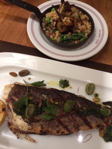 Loup de mer grillé: whole grilled sea bass, with artichoke, fregola sarda, and sauce vierge