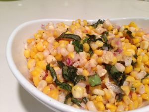 Corn, onion and basil salad