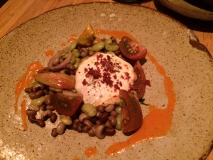 Burrata with pimento cheese, heirloom tomatoes, and black-eyed peas