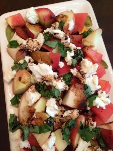 Tomato, peach, and mozzarella salad